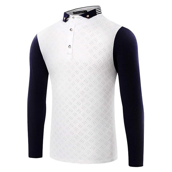 Camiseta De Manga Larga De Los Hombres Básicas Urbanas Camisetas Básicas Slim Mode De Marca Fit Stand Collar Blusa Otoño Moda Camisas Tops: Amazon.es: Ropa ...