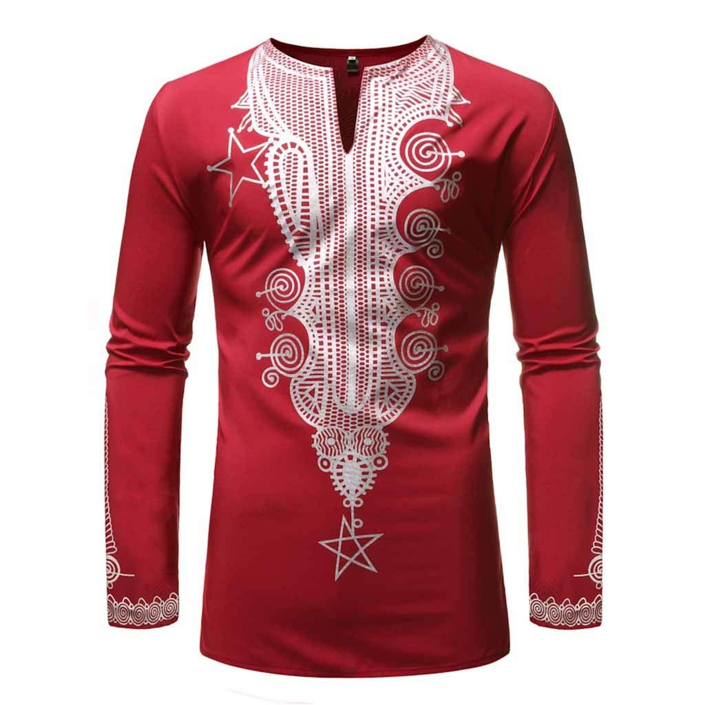 MODOQO Mens Dashiki African Shirt Casual Slim Fit Graphic Printed Shirt for Beach Wedding (Red,CN-XL/US-M) by MODOQO