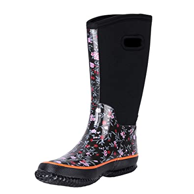 9c27e8e5627 WTW Women s Rain Boots Rubber Mid Calf Winnter Protection up to -22  Fahrenheit (Size