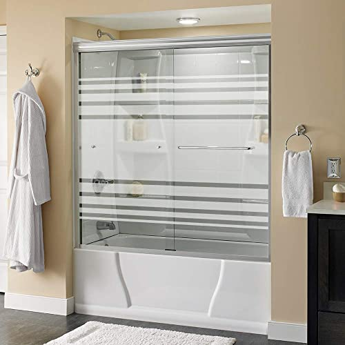 Delta Shower Doors SD3927406 Classic Semi-Frameless Traditional Sliding Bathtub 60 x58-1 8, Chrome Track