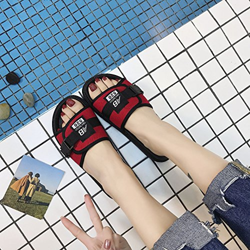 Wild slippers Student Flop Female women Shoes Casual Flat Flip Wear Summer Black Slipper Leisure Ax8rAfW