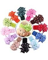 Qandsweet Baby Girl's Elastic Headbands Hair Bows Flower
