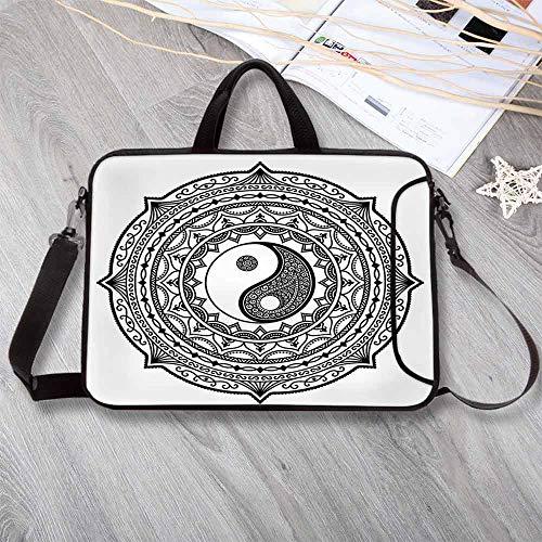 - Ying Yang Large Capacity Neoprene Laptop Bag,Circle Mandala Pattern with Yin Yang Sign Made with Paisley Motif Karma Cosmos Laptop Bag for 10 Inch to 17 Inch Laptop,13.8