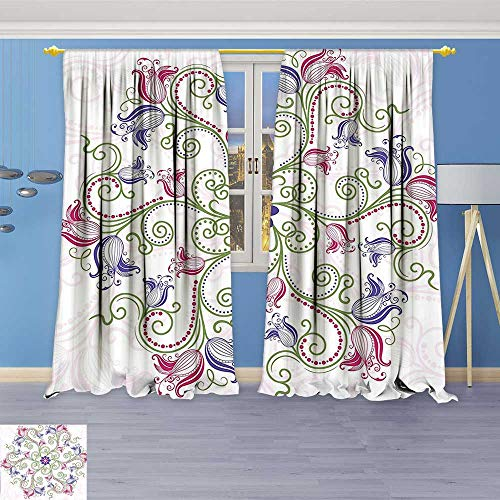 (Philiphome Embossed Thermal Weaved Grommet Blackout Curtains Classic Shabby Chic with Eastern Swirled Tulip Flowers Image Fern Green Magenta White Blocks up to 80% of Sunlight- Premium Draperies)