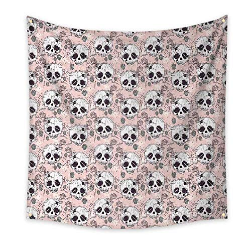 Skull Bedroom Tapestry Halloween Traditional Mexican Sugar Day of The Dead Roses Horror Folk Pattern Room Tapestry Blush White Onyx 55W x 55L -