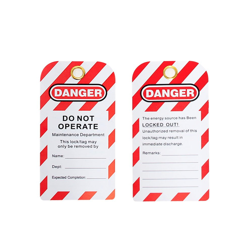 Wisamic 30 Pack Lockout Tag - 5.4''x3'',''Danger - DO NOT Operate'', Unrippable Vinyl, Red/Black on White
