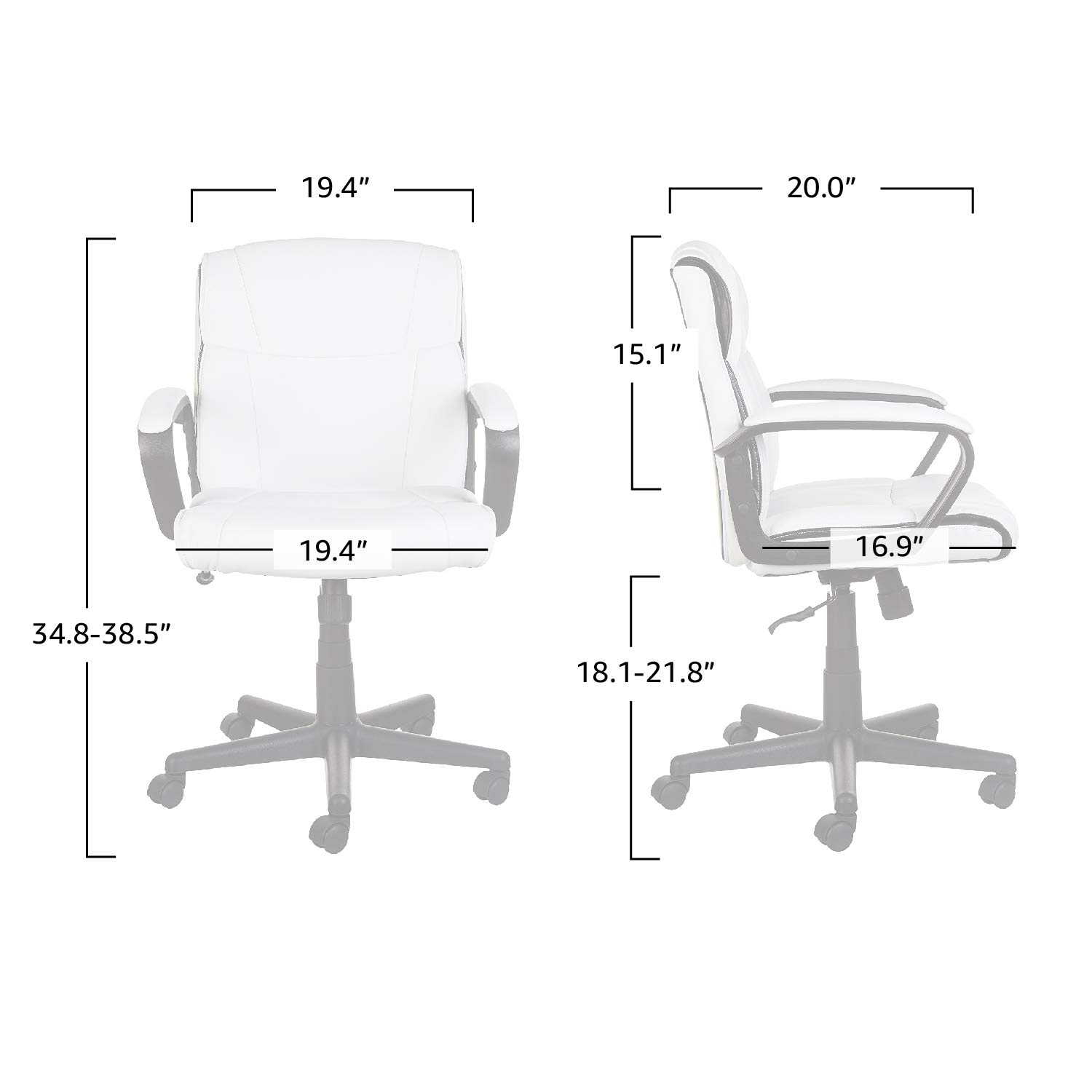AmazonBasics Classic Leather-Padded Mid-Back Office Computer Desk Chair with Armrest - White by AmazonBasics (Image #4)