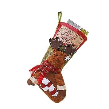 Bolsa De Regalo De Calcetines De Navidad De 5 Piezas/Colgante De Decoración De árbol De Navidad/Suministros De Regalo Calcetines Premium De Santa,C: ...