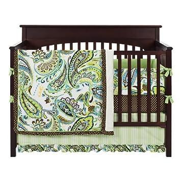 Source Amazon Com Paisley Splash 4 Piece Crib Bedding Set Color Lime Baby