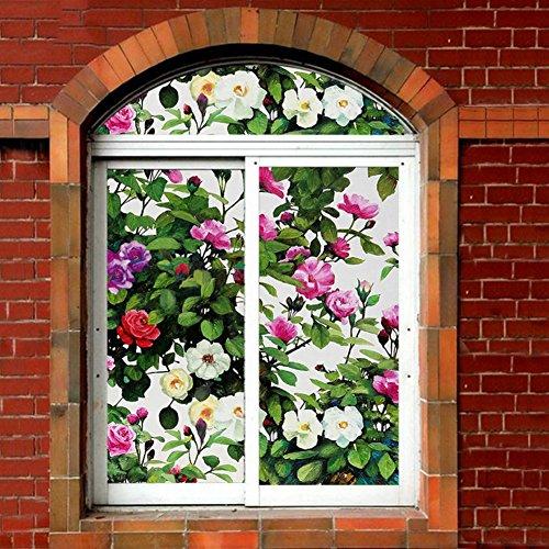 Wayward PVC Privacy Window Decorative Films,3D No Glue Static Film,Plant Flowers Glass Home Bathroom Anti-uv Heat Rejection Control Reusable Window Decal Sticker-A 70x100cm(28x39inch)