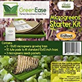 GreenEase Microgreens Starter Kit – 10 Organic Certified Jute Grow Pads, 3 BPA Free Low Profile 10x10 Trays for Easy Harvesting and 3 Packs of Microgreens Seeds