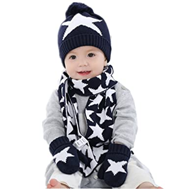 Ding-dong Baby Kid Boy Girl Winter Knitted Star Hat+Scarf+Gloves 3Pieces a8243f612bd