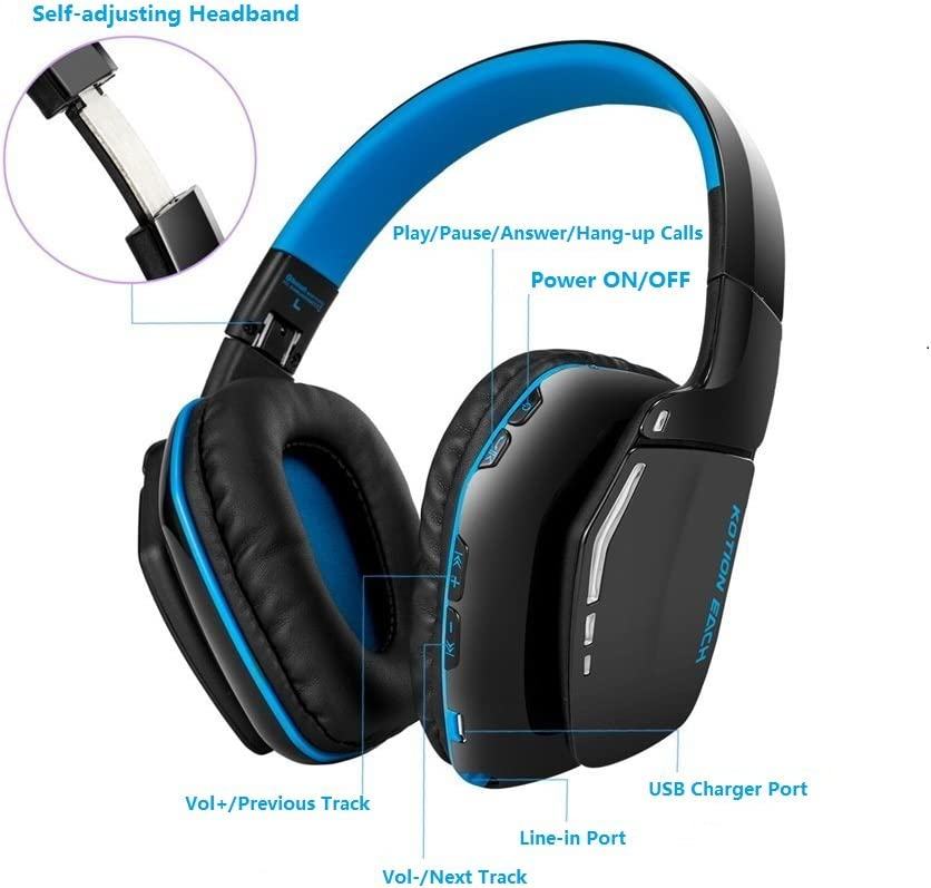 Kotion Each B3506 V4.1 Wireless Foldable Gaming Headphones with Microphone for PC Computer PS4 iPhone iPad Black Blue Bluetooth Gaming Headset