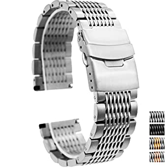 7c6b18f1a745 20mm Stainless Steel Watch Band Brushed Finish Watch Strap Bracelet Mesh  Wrist Band with Double Clasp