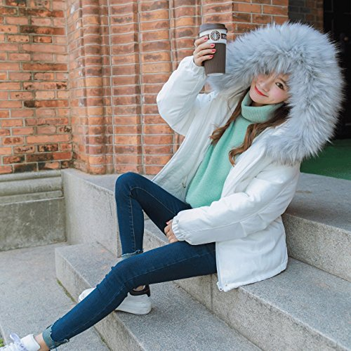 Xuanku T-Shirt Women'S Winter Thick Short Paragraph Loose Hooded Large Collar Collar Drape Jacket White