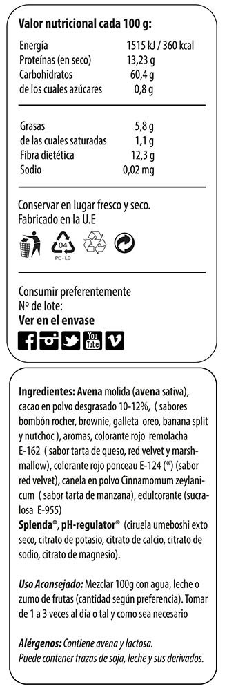 Harina de avena calorias