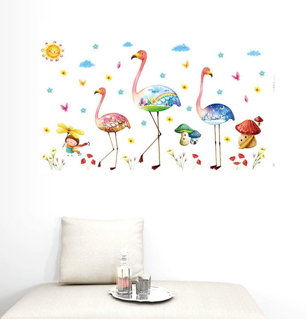 BIBITIME Colorful 3 Flamingo Peel and Stick Wall Decals Sun Cloud Rainbow Butterfly Lily Flower Girl Mushroom Vinyl Animal Birds Sticker for Children Nursery Bedroom Kids Room Decor