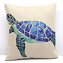 Vanki ocean serial Cotton Linen Square Decorative Throw Pillow Case Cushion Cover 18X 18 inches ,lovely blue Sea Turtles
