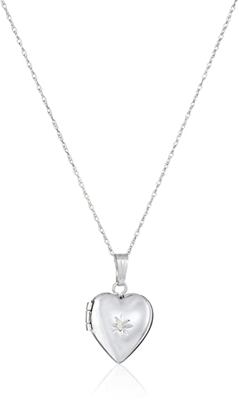 Amazon childrens 14k white gold heart locket with genuine childrens 14k white gold heart locket with genuine diamond necklace mozeypictures Images