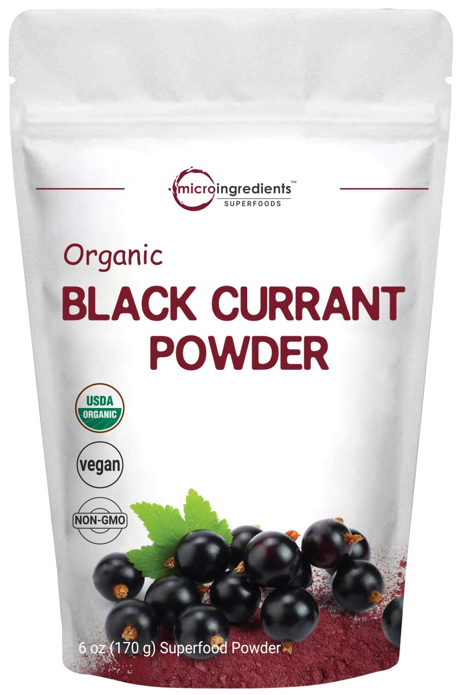 Micro Ingredients Organic Black Currant Powder, 6 Ounce, Rich in Antioxidants, Anthocyanins and Vitamin C, Non-GMO and Vegan Friendly