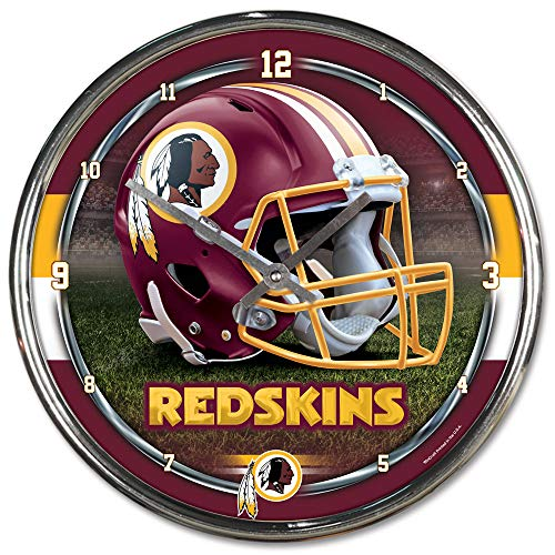 Clock Chrome Nfl - NFL Washington Redskins Chrome Clock, 12