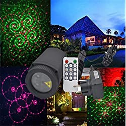 L&T STAR 12 card outdoor waterproof lawn lamp garden lights remote control double red and green stars projector lamp Christmas day projection lamp