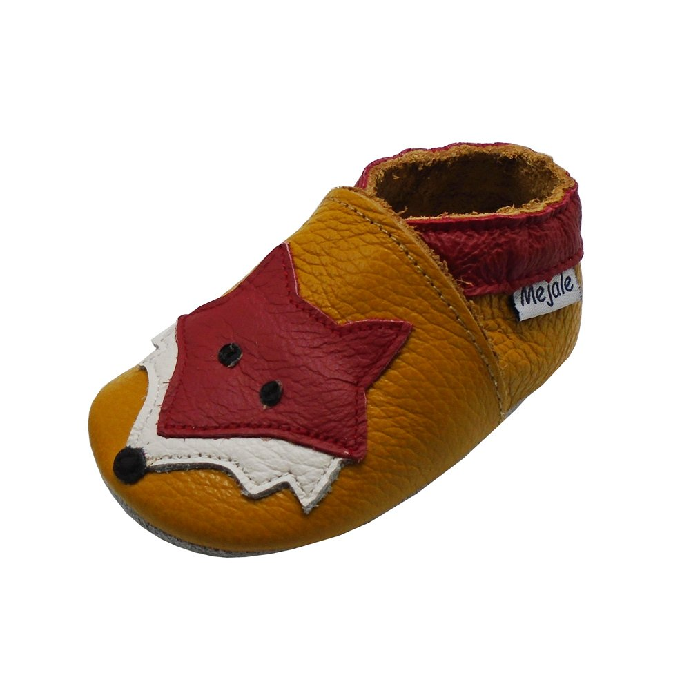 Mejale Baby Shoes Soft Sole Leather Crawling Moccasins Cartoon Fox Infant Toddler First Walker Slippers(6-12 Months, brown)