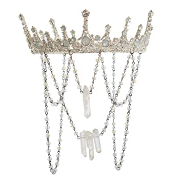 Halo Crystal Crown Clear Crystal and Gold Crown Quartz Crystal Point Tiara Crystal Headband Natural Crystals