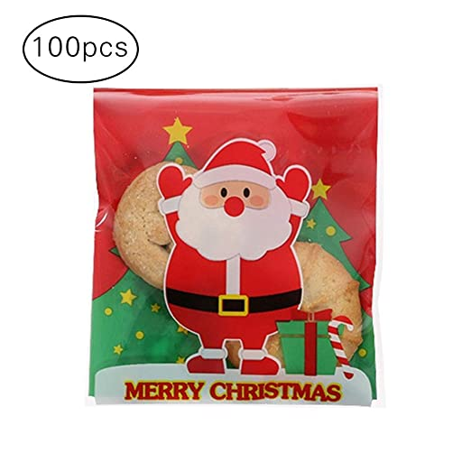 CAOLATOR.100 Pcs Bolsa Bolsa de Dulces Bolsitas Caramelos Plástico Autoadhesivas Bolsas Galletas para Fiesta Navidad Cumpleaños Regalo Bolsa
