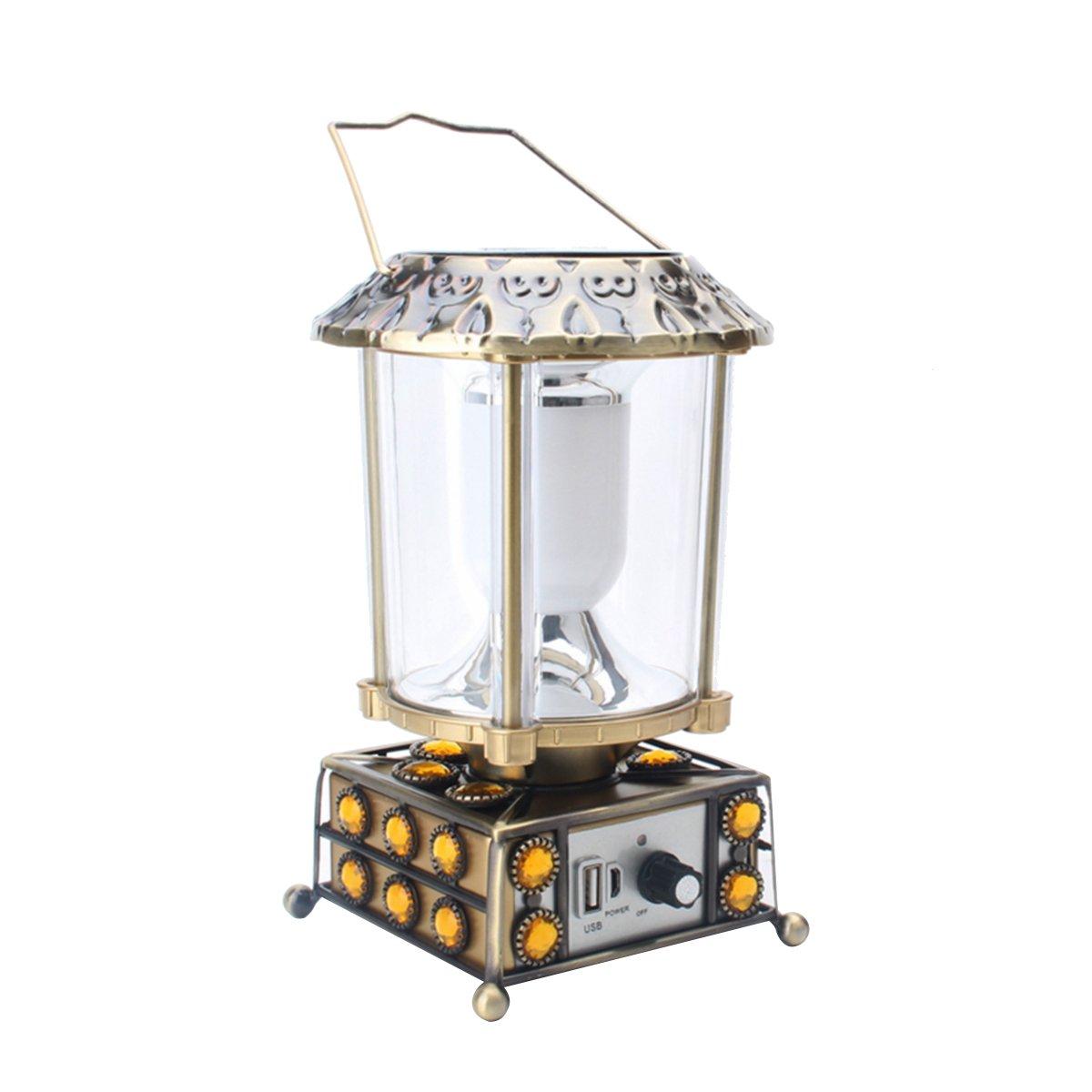 OLSUS Solar Charging 240lm 10-5630 LED White USB Aluminum Alloy LED Camping Lamp - Green Bronze