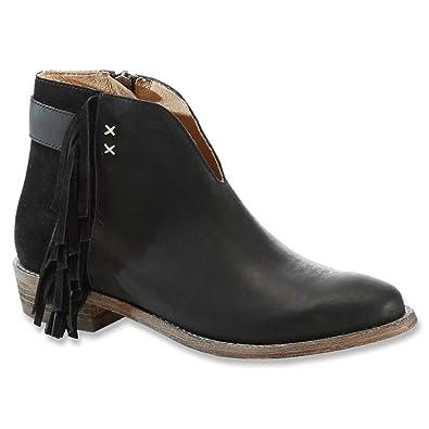 Amazon.com | Koolaburra Womens Dallas Leather Fringe Ankle Boots ...