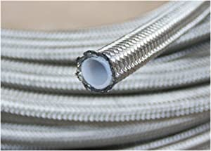autobahn88 PTFE Teflon Hose with High Tensile Stainless Steel Braided (Single Layer) fits for Fluids : Brake, Clutch, Hydraulic. Silver. (-3AN, 5 Feet)