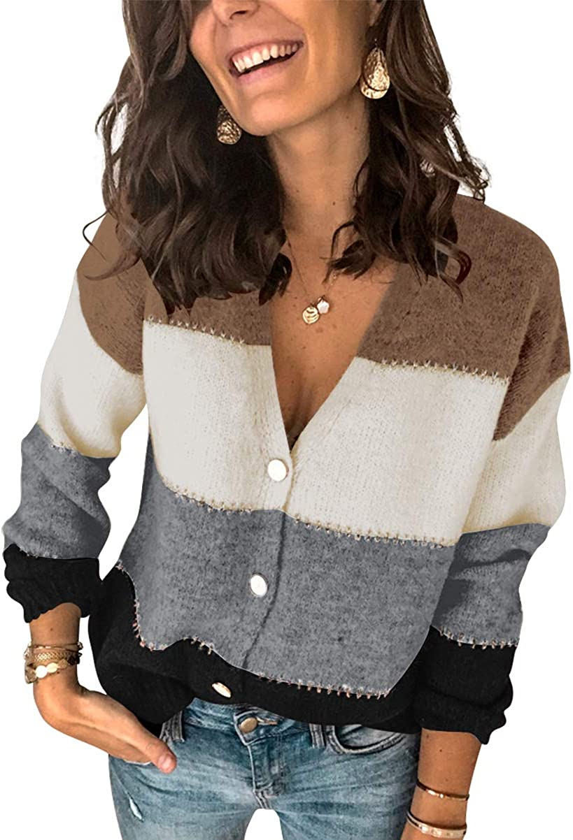 Asvivid Womens Color Block Cardigans Striped Button Down V Neck Knit Sweater Fall Pullover Coat Outerwear