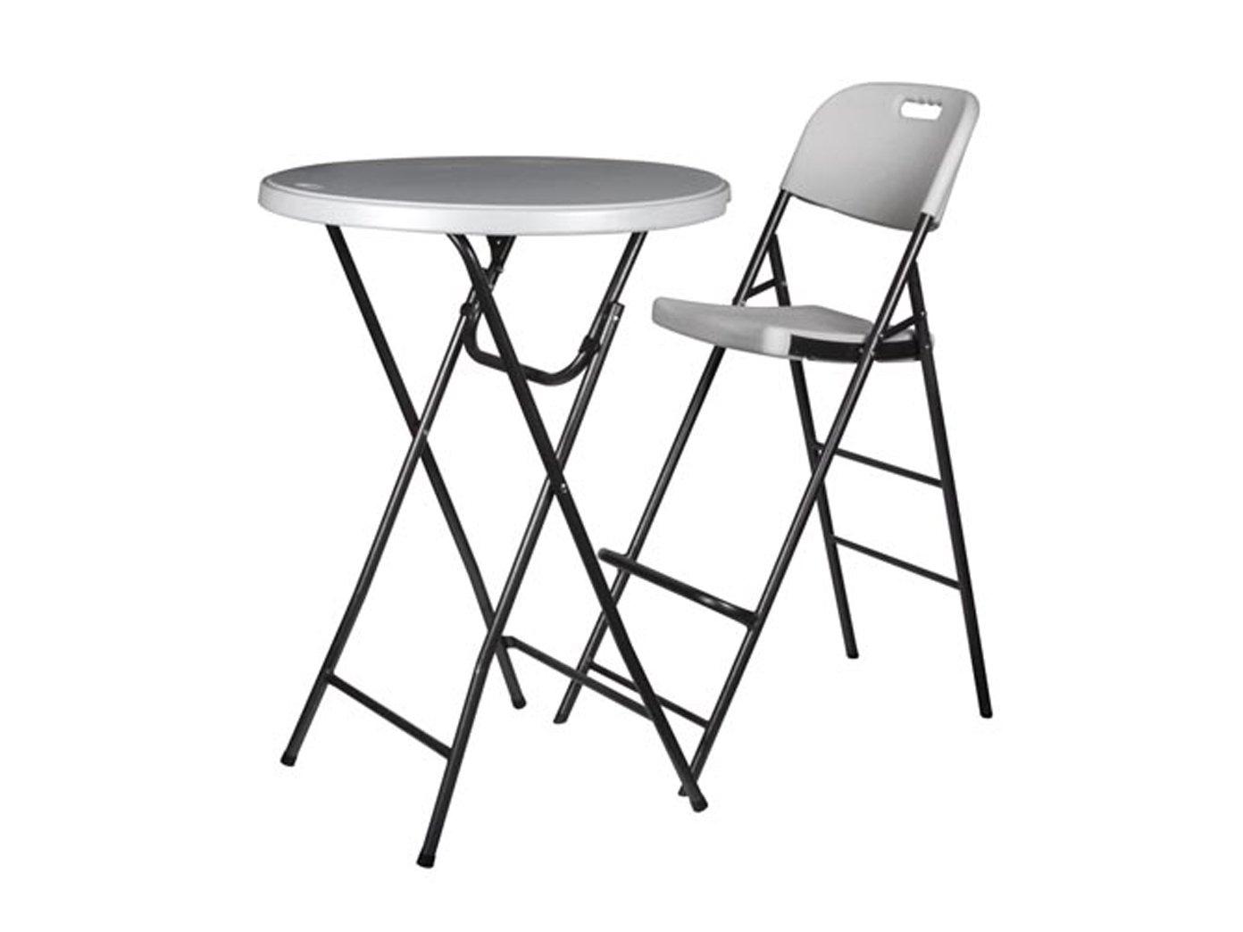 Stabile set tavolo e 2 sgabelli da bar pieghevole bianco altezza