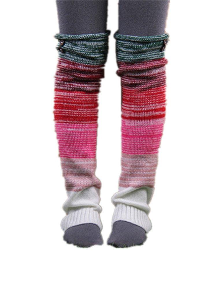 VIGVOG Women's Boho Knitted Warm Long Leg Warmers (Green)