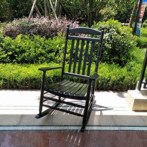 B&Z Patio Rocking Chair Rocker Hardwood Wooden Glider Adult Carved Legs Wide Seat Antique Vintage Outdoor Indoor KD-22B Black
