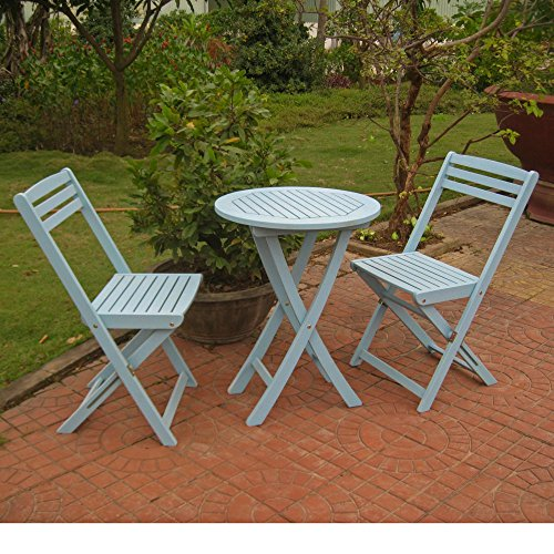 Cheap International Caravan TT-VN-0158-SKB-IC Furniture Piece Set of 3 Acacia Folding Bistro Set