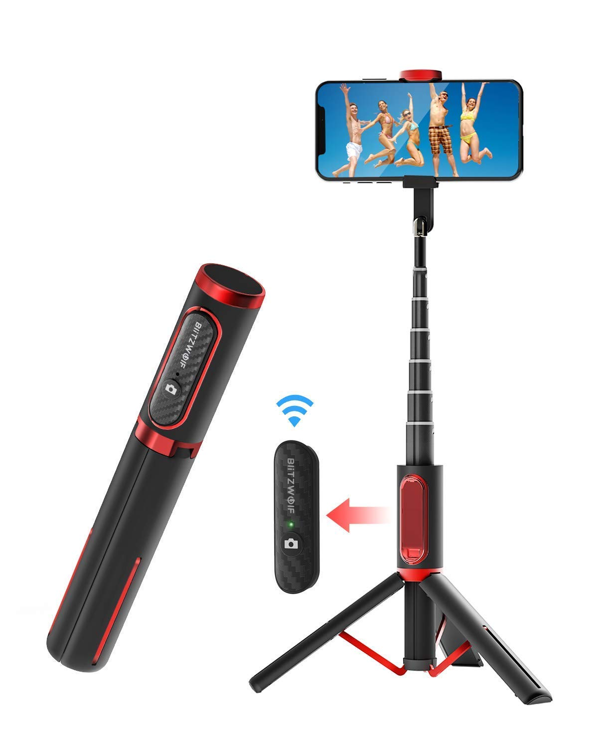 Selfie Stick Tripod, BlitzWolf Lightweight Aluminum All in One Extendable Phone Tripod Selfie Stick Bluetooth with Remote for iPhone Xs MAX/XR/XS/X/8/8 Plus/7/7 Plus/6s/6, Galaxy S10/S9/S9 Plus, More by BlitzWolf