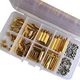 M3 Male-Female Hex Brass Standoff Bolt Screw Nut Threaded Pillar PCB Motherboard Spacer Assortment Kit Mounts 120Pcs