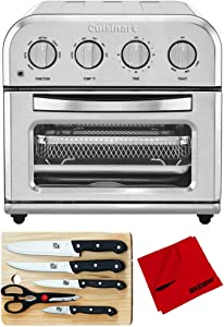 Cuisinart TOA-28 Compact AirFryer Toaster Oven Silver Bundle with Home Basics 5-Piece Knife Set with Cutting Board and Deco Gear Microfiber Cleaning Cloth