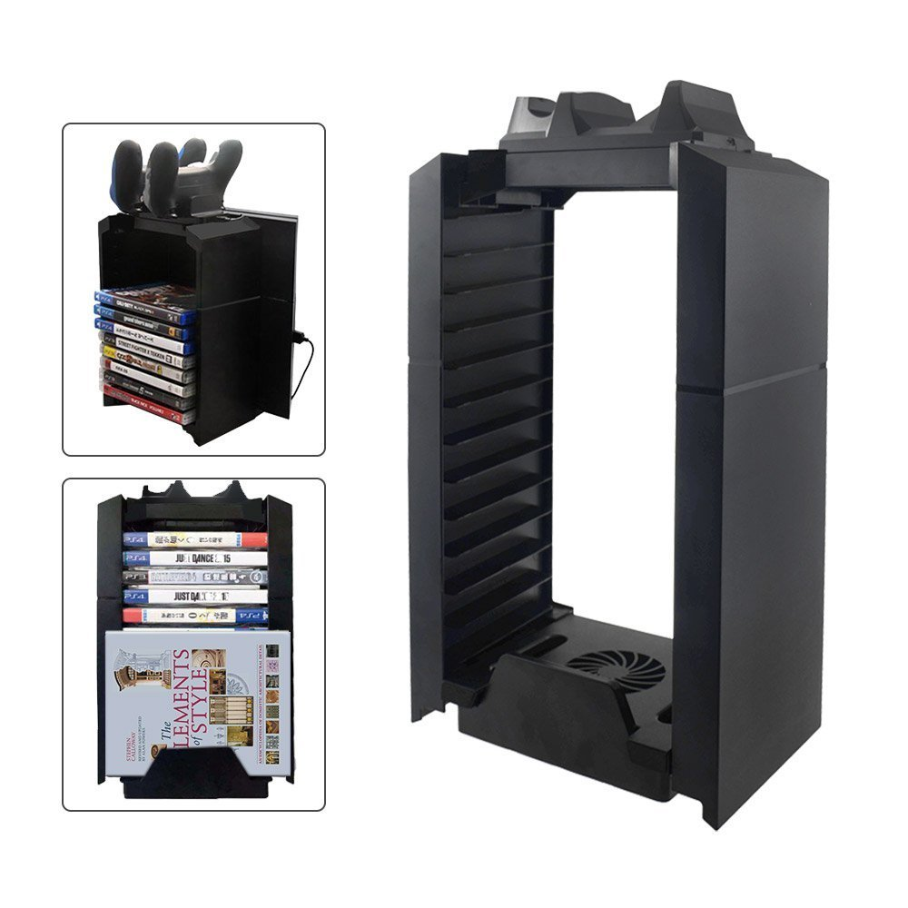 YICHUMY Multifunctional Cooling Fan Stand and PS4 Game Storage Tower Holder with Dualshock 4 charger For Playstation 4 Console ps4 cooling stand ps4 game disk holder by YICHUMY