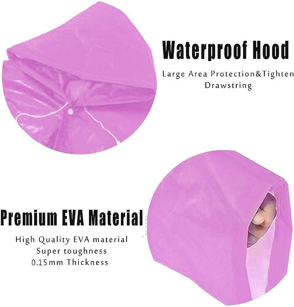 - Thicker EVA Rainwear with Drawstring Hood /& Sleeve Ends for Travel Camping 2 Pack Pink Segorts Kids Emergency Portable Rain Ponchos