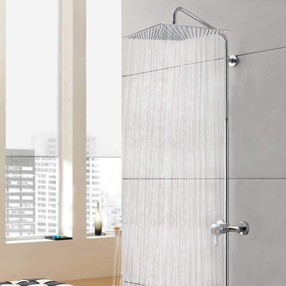 cuadrado cabezal de ducha de lujo de 12 pulgadas Superflach de ducha cabezal de ducha angular 30 cm Qliver Ducha de lluvia acero inoxidable pulido 304 Efecto espejo alto brillo