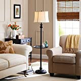 58'' Sophisticated Design, Floor Lamp with Tray, CFL Bulb Included, White/Black