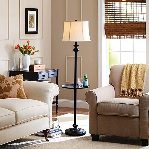 58'' Sophisticated Design, Floor Lamp with Tray, CFL Bulb Included, White/Black by Better Homes and Gardens