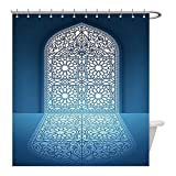 Liguo88 Custom Waterproof Bathroom Shower Curtain Polyester Arabian Decor Collection Doors of Antique Old Mosque Grace Faith Theme Islamic Eid Ethnic Illustration Print White Turquoise Decorative bat