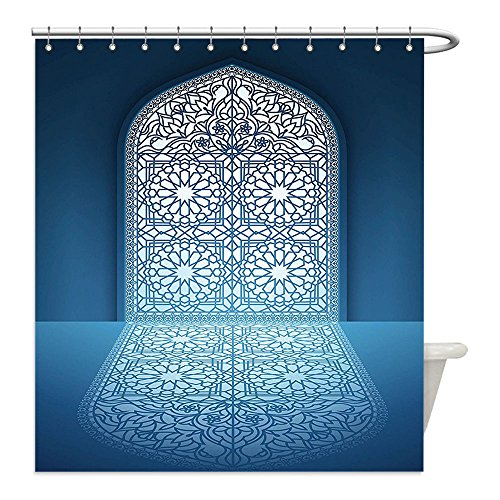 Liguo88 Custom Waterproof Bathroom Shower Curtain Polyester Arabian Decor Collection Doors of Antique Old Mosque Grace Faith Theme Islamic Eid Ethnic Illustration Print White Turquoise Decorative bat by liguo88