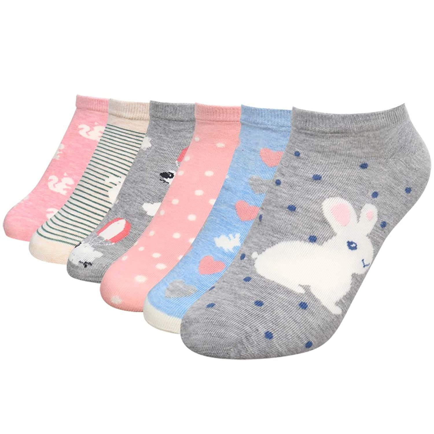 Bundle Monster Womens 6 Pairs Low Cut Black Mix Style Cotton Blend Socks One Size - Cuddly Cute