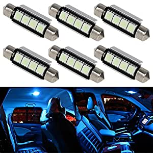 partsam 6x ice blue canbus 42mm festoon bulbs 4smd 5050 led for car interior dome. Black Bedroom Furniture Sets. Home Design Ideas