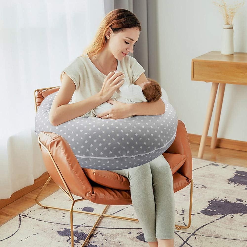 Luchild Nursing Pillow Pregnancy Pillow Maternity Pillow for Breastfeeding Baby e Full Body for Sleeping Large,101/% Cotton Pillow Case,Inner Filling Polyester Fiber Star
